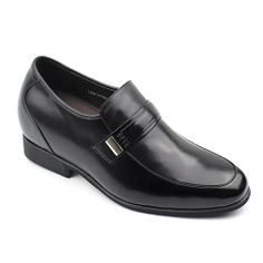 Chamaripa 2.76 inch Calfskin Leather/Leather Dress Shoes Black men's elevator shoes with buckle