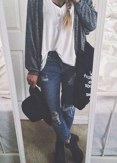 oversized white tank , ripped boyfriend jeans , black boots , slouchy gray cardigan/sweater , black hat