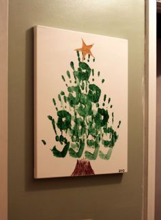 Handprint Christmas Tree - This site has ideas for gifts for kids to make for grandparents. I love this handprint tree.