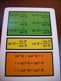 Trigonometry Study Flash Cards - This small set of 18 cards provides a quick… Math Teacher, Math Classroom, Teaching Math, Gcse Math, Maths, Ap Calculus, Algebra 2, Study Cards, Physics And Mathematics