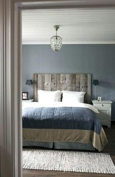 118 Elegant Interior Design Ideas for Men's Bedroom Decor - Modern Country Bedrooms, Modern Bedroom, Masculine Master Bedroom, Trendy Bedroom, Country Bedroom Blue, Blue Gray Bedroom, Blue Master Bedroom, Modern Country Style, Vintage Country