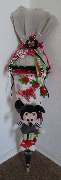 Schultüte Zuckertüte Mädchen Minni Maus Minnie Mouse Handarbeit Unikat