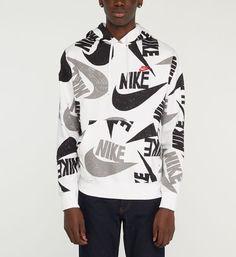 Nike - Hoodie droit molletonné swoosh all over - Blanc Nike Hoodie, Lafayette, Adidas, Nike Clothes, Shopping, Blouse, Long Sleeve, Grande, Sleeves