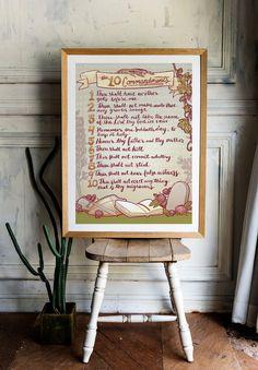 10 Commandments Printable 'Vintage Colour', Hand Drawn Wall Art – 3 sizes + Bonus Colouring Page – – framepicture Printable Frames, Printable Vintage, Colouring, Coloring Pages, 10 Commandments, Color Pallets, Vintage Colors, All Design, Digital Illustration