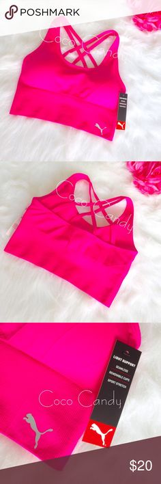 🆕💖Puma Bra Puma Sports Bra💕  Size: Small  NEW WITH TAGS✨  Color: Hot Pink  Hot barbie pink Puma brand sports bra. Puma logo on the front. Double crossing back straps. Removable padding. Wear even on the days you're not at the gym. Moisture management fabric specially developed to wick moisture away from the skin. This bra will keep you dry, cool, & comfortable. 💖  ⭐️No Trades ⭐️No Modeling ⭐️I Love Offers  ⭐️Fast Shipping+Free Gift ⭐️Check out my other listings ⭐️Save 10% on 3 item…