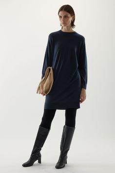 Wool Dress, Knit Dress, Winter Wardrobe, My Wardrobe, Belted Coat, Navy Dress, Merino Wool, Coats For Women, Knitwear