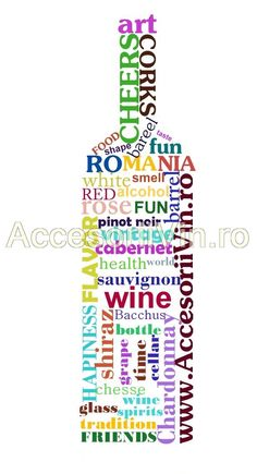 An impressive collection of beautiful words collected in a wine bottle shape. Just for wine spirits!