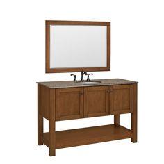 null Palisades 50 in. W x 20.5 in. D Basin Vanity in Bourbon Cherry with Granite Vanity Top in Beige & Mirror