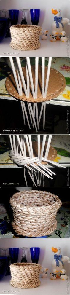 Diseñar el fondo de la cesta (tejiendo con periódicos)   -   Design the bottom of the basket (weaving newspapers):