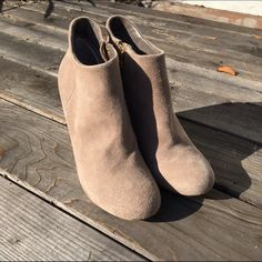 SALE!! Steve Madden Taupe Suede Panelope Booties New, never worn Steve Madden booties. Size 9. I don't have the box anymore, but as the pictures show, the soles are brand new so they have never been worn but to try on. There are a few spots where shoes have rubbed against each other/other shoes with storing. Spot on right heel, left side of left shoe, and on underside of toes where meets sole on both shoes. Purchased online from Nordstrom approx 2 1/2 years ago. Steve Madden Shoes Ankle…
