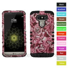 For Lg Flower Roses Rkr Hard&Rubber Shockproof Rugged Armor Phone Case Cover Cell Phone Covers, Cool Phone Cases, Lg G5, Grey Yellow, Pink Roses, Cell Phone Accessories, Purple, Rugs, Amp