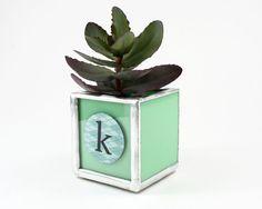 Custom Plant Holder, Personalized Plant Pot, Personalized Initial Succulent Planter, Modern Planter, Desk Planter, Container Planter