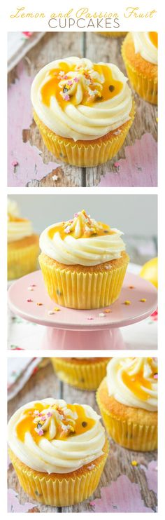 These Lemon and Passion Fruit Cupcakes are light, delicate and pack a real flavour punch. Tender lemon cupcakes, with Passion Fruit Coulis inside the cake and on top of the frosting - these are the pe (Baking Desserts Cupcakes) Cupcakes Aux Fruits, Lemon Cupcakes, Spring Cupcakes, Cupcake Recipes, Cupcake Cakes, Dessert Recipes, Cup Cakes, Cupcake Emoji, Baking Desserts
