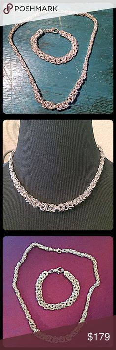 """✨.925 SS Italian Byzantine Necklace/Bracelet Set✨ Beautiful solid .925 Milor sterling silver necklace & bracelet both made in Italy. Necklace is a rounded graduated Byzantine style. Widest point at center area is approx. 8.5mm which is about 1/3"""".  Length=18"""". Weighs approx. 35gms. Bracelet is a flat Byzantine style. Length=7"""", Width=8.5mm (1/3""""). Weighs approx. 25gms. Both pieces have solid lobster claw clasp closure. Selling as a set for $179. Separate: Necklace=$115, Bracelet=$75In…"""