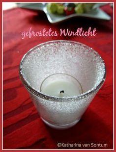 gefrostetes Windlicht, Windlicht, geeistes Glas, Zuckerglas, Glas mit Zucker bestreut