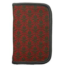 Red & Green Christmas Damask Folio Planners