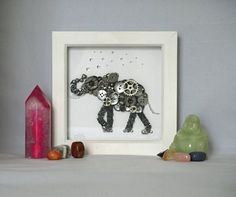 Elephant Button Art Frame Washing Elephant Safari Frames