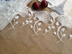 White Ginkgo Leaf Lace Trim Wedding Fabric Lace Embroidered Lace 5.11 Inches wide 2 Yards