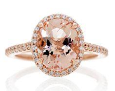 14 Karat Rose Gold Oval Cut 10x8 Morganite Diamond Halo Stacking Gemstone Engagement Ring SAMnSUE $995.00 USD
