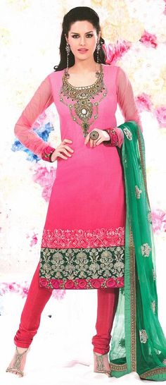 Pink Embroidered with Stone Work Faux Georgette Churidar Salwar Suit 25994