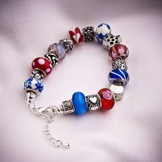 European Bead Bracelet Patriotic Red White and Blue. $30.00, via Etsy.