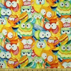 Whoo Loves Ya Owl Bunched 100% Cotton Fabric