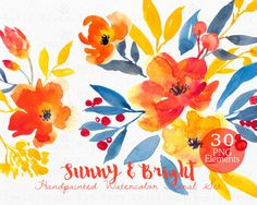 Watercolour Floral Clipart. Handmade, watercolour clipart, wedding diy elements, flowers - Sunny & Bright by SmallHouseBigPony on Etsy