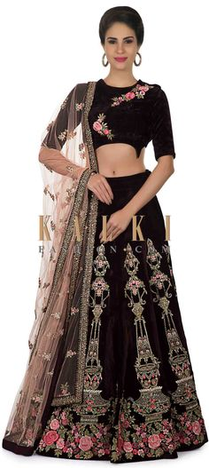 Velvet lehenga in burgundy with embroidered motifs from gardens of Mirabell only on Kalki - Lehnga - Wedding Choli Designs, Lehenga Designs, Indian Attire, Indian Wear, Long Skirt And Top, Lehenga Style, Indian Designer Wear, Costumes For Women, Traditional Outfits