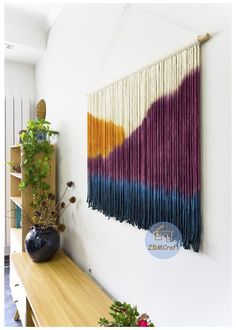 Yarn Wall Art, Diy Wall Art, Diy Wall Decor, Diy Art, Macrame Wall Hanging Diy, Handmade Wall Hanging, Tapestry Loom, Large Tapestries, Macrame Design