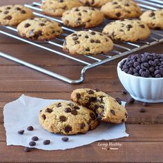 These are the perfect Paleo Chocolate Chip Cookies (gluten-free, grain-free & dairy-free). Crispy on the outside and chewy on the inside, while also being extra thick, soft, moist and chocolaty with every bite. They exceed all taste and texture expectations of traditional chocolate chip cookies as well. By #livinghealthywithchocolate #perfectpaleochocolatechipcookies