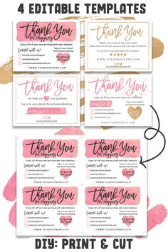 Thank You Cards for your Customers! DIY Printable business thank you cards for product packaging Thank You Cards for your Customers! DIY Printable business thank you cards for product packaging Personalized Thank You Cards, Printable Thank You Cards, Thank You Card Template, Card Templates, Small Business Cards, Business Thank You Cards, Wedding Thank You Cards, Feeds Instagram, Facebook Instagram