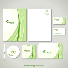 corporate image design in green with curves free vector