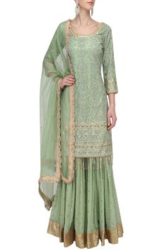 Megha & Jigar presents Fern Green Embroidered Sharara set available only at Pernia's Pop Up Shop. Pakistani Dresses, Indian Dresses, Indian Outfits, Pakistani Sharara, Indian Attire, Indian Clothes, Sharara Designs, Indian Designer Suits, Indian Lehenga