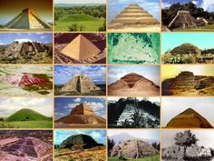"""Again, this collage is used to give credibility to the worldwide cultural influence theory (Atlantis) by claiming that the similarity of the buildings shape (pyramidal) proves that these cultures were influenced by a single """"greater"""" one. It really more probable that they all look alike because people learned through trial & error that the pyramid shape was best to make HUGE buildings that were sturdy and lasted a long time."""
