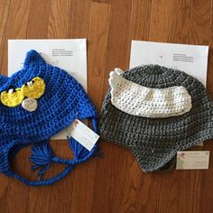 Pete the Cat beanie & a Thor inspired helmet beanie are on their way to new homes today ✈️✈️✈️
