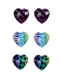 Neon Animal Heart Stud Earrings | Earrings | Jewelry | Shop Justice