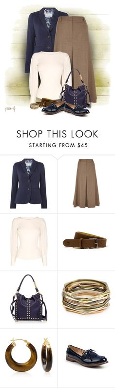 """""""Navy and tan"""" by peace-rf ❤ liked on Polyvore featuring Joules, Viyella, Karen Millen, Lacoste, Foley + Corinna, Kendra Scott, Ross-Simons and Lost Ink"""