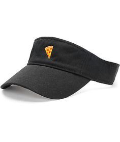 Bring back visors into your wardrobe with the Pizza Skateboards Pizza Emoji Black Visor Hat. With the pizza emoji embroidered to the front and an adjustable hook and loop fastener for a custom fit, the hat will bring some extra flash to your daily outfits Pizza Emoji, Visor Hats, Hook And Loop Fastener, Visors, Fashion Hats, Baseball Caps, Skateboards, Sport Outfits, Jasmine
