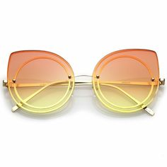 6983ca551f2 Women s Oversize Rimless Colored Gradient Flat Lens Cat Eye Sunglasses   fashion  clothing  shoes