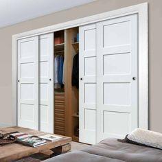 Four Sliding Wardrobe Doors & Frame Kit – Shaker Door – White Primed Thruslide Shaker 4 Door Wardrobe and Frame Kit – White Primed – Lifestyle Image. Fitted Wardrobe Doors, Sliding Door Wardrobe Designs, Bedroom Built In Wardrobe, Bedroom Closet Design, Sliding Closet Doors, Diy Wardrobe, Closet Designs, White Sliding Door Wardrobe, Fitted Sliding Wardrobes