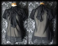 Gothic Black Sheer Frilled BEWITCHING high Neck Blouse 10 12 Victorian Vintage - £24.00
