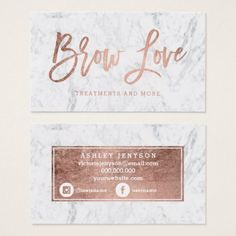 #makeup #artist #makeupartist - #Logo brow faux rose gold typography white marble business card