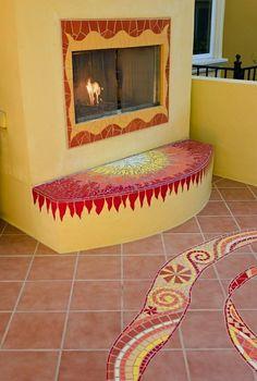 Mosaics -Stunning Patio Space by Kathy Richardson Designs, Los Altos CA Mosaic Wall, Mosaic Glass, Mosaic Tiles, Mosaic Floors, Stained Glass, Mosaic Fireplace, Fireplace Design, Mosaic Crafts, Mosaic Projects