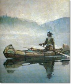 Frank Earle Schoonover has a very serene scene in this illustration of a First Nations man in his birch bark canoe on the foggy, quietness of the lake in the early part of the morning. Canoe Trip, Canoe And Kayak, Canoe Camping, American Indian Art, Native American Indians, Winslow Homer, Illustration, Native Art, Western Art