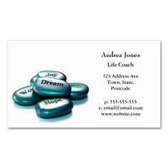 Positive word stones life coach business card. This is a fully customizable business card and available on several paper types for your needs. You can upload your own image or use the image as is. Just click this template to get started!