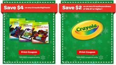 Crayola High Value $6 Coupons
