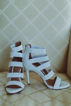 Modern strappy wedding shoes by Joie