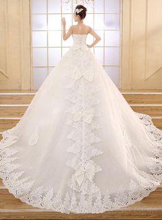 Elegant Strapless Appliques Lace Wedding Dress Wedding Dresses 2015- ericdress.com 11232138