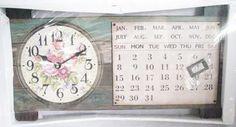 shabby wood clock with calendar size: 9 x 20