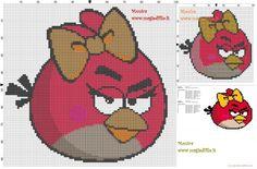 Angry Birds red female bird cross stitch pattern - free cross stitch patterns